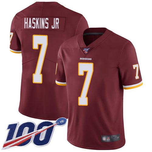 Redskins #7 Dwayne Haskins Jr Burgundy Red Team Color Men's Stitched Football 100th Season Vapor Limited Jersey
