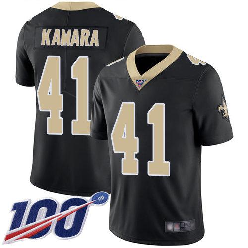 Saints #41 Alvin Kamara Black Team Color Men's Stitched Football 100th Season Vapor Limited Jersey