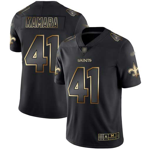 Saints #41 Alvin Kamara Black Gold Men's Stitched Football Vapor Untouchable Limited Jersey