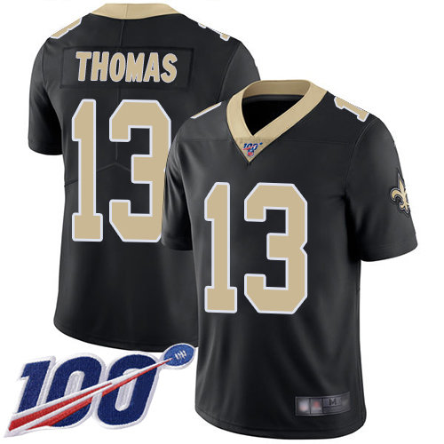 Saints #13 Michael Thomas Black Team Color Men's Stitched Football 100th Season Vapor Limited Jersey
