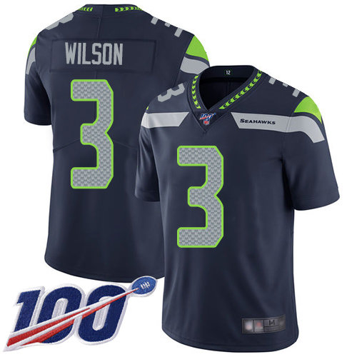 Seahawks #3 Russell Wilson Steel Blue Team Color Men's Stitched Football 100th Season Vapor Limited Jersey
