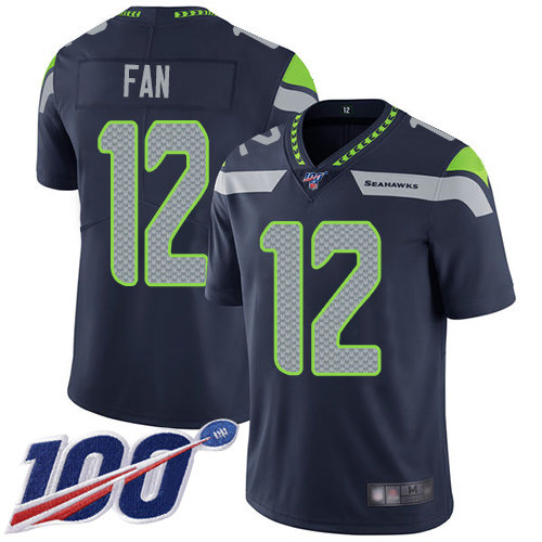 Seahawks #12 Fan Steel Blue Team Color Men's Stitched Football 100th Season Vapor Limited Jersey