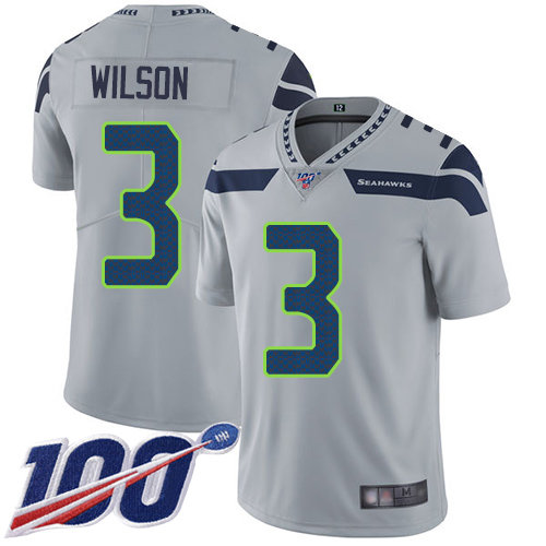 Seahawks #3 Russell Wilson Grey Alternate Men's Stitched Football 100th Season Vapor Limited Jersey