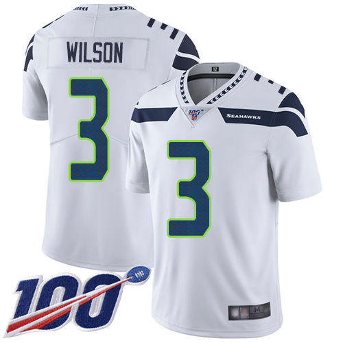 Seahawks #3 Russell Wilson White Men's Stitched Football 100th Season Vapor Limited Jersey