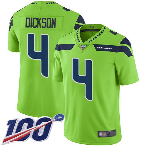 Seahawks #4 Michael Dickson Green Men's Stitched Football Limited Rush 100th Season Jersey