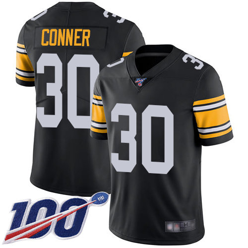 Steelers #30 James Conner Black Alternate Men's Stitched Football 100th Season Vapor Limited Jersey