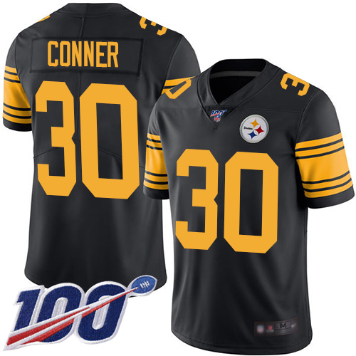 Steelers #30 James Conner Black Men's Stitched Football Limited Rush 100th Season Jersey