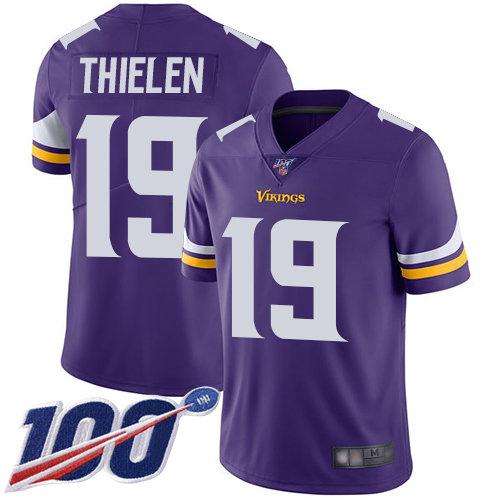 Vikings #19 Adam Thielen Purple Team Color Men's Stitched Football 100th Season Vapor Limited Jersey