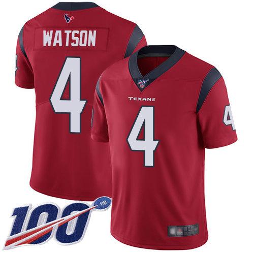 Texans #4 Deshaun Watson Red Alternate Men's Stitched Football 100th Season Vapor Limited Jersey