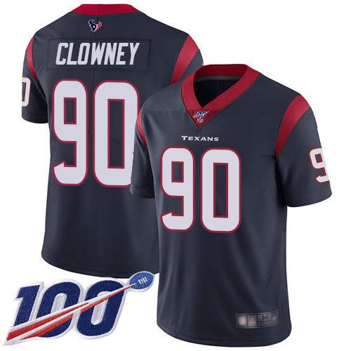 Texans #90 Jadeveon Clowney Navy Blue Team Color Men's Stitched Football 100th Season Vapor Limited Jersey
