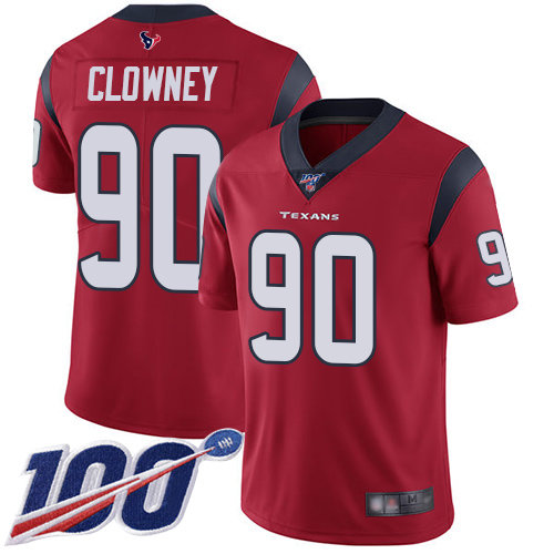 Texans #90 Jadeveon Clowney Red Alternate Men's Stitched Football 100th Season Vapor Limited Jersey