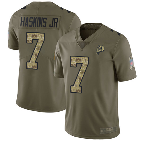 Redskins #7 Dwayne Haskins Jr Olive Camo Men's Stitched Football Limited 2017 Salute To Service Jersey