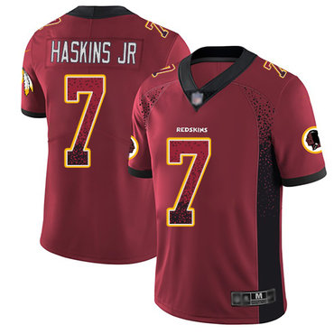 Redskins #7 Dwayne Haskins Jr Burgundy Red Team Color Men's Stitched Football Limited Rush Drift Fashion Jersey