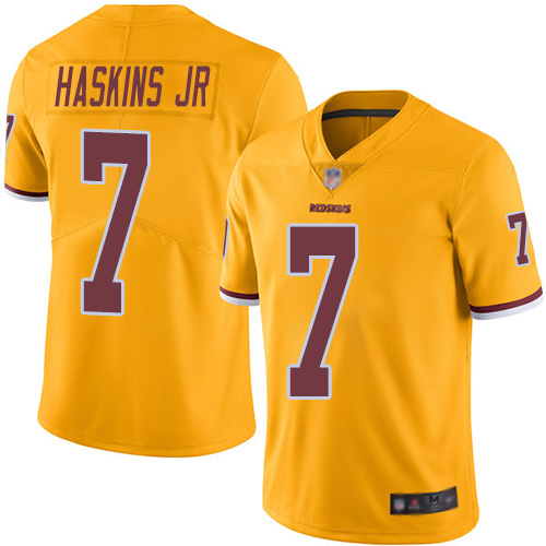 Redskins #7 Dwayne Haskins Jr Gold Men's Stitched Football Limited Rush Jersey