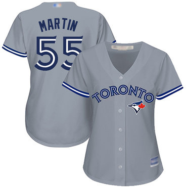 Blue Jays #55 Russell Martin Grey Road Women's Stitched Baseball Jersey