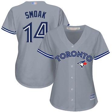 Blue Jays #14 Justin Smoak Grey Road Women's Stitched Baseball Jersey
