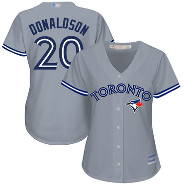 Blue Jays #20 Josh Donaldson Grey Road Women's Stitched Baseball Jersey