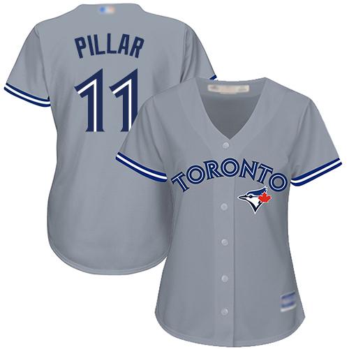 Blue Jays #11 Kevin Pillar Grey Road Women's Stitched Baseball Jersey