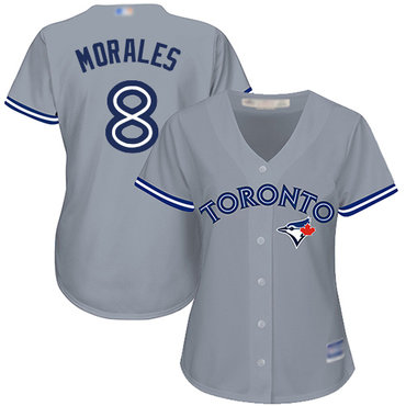 Blue Jays #8 Kendrys Morales Grey Road Women's Stitched Baseball Jersey
