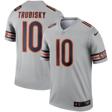 Nike Chicago Bears 10 Mitchell Trubisky Silver Inverted Legend Jersey
