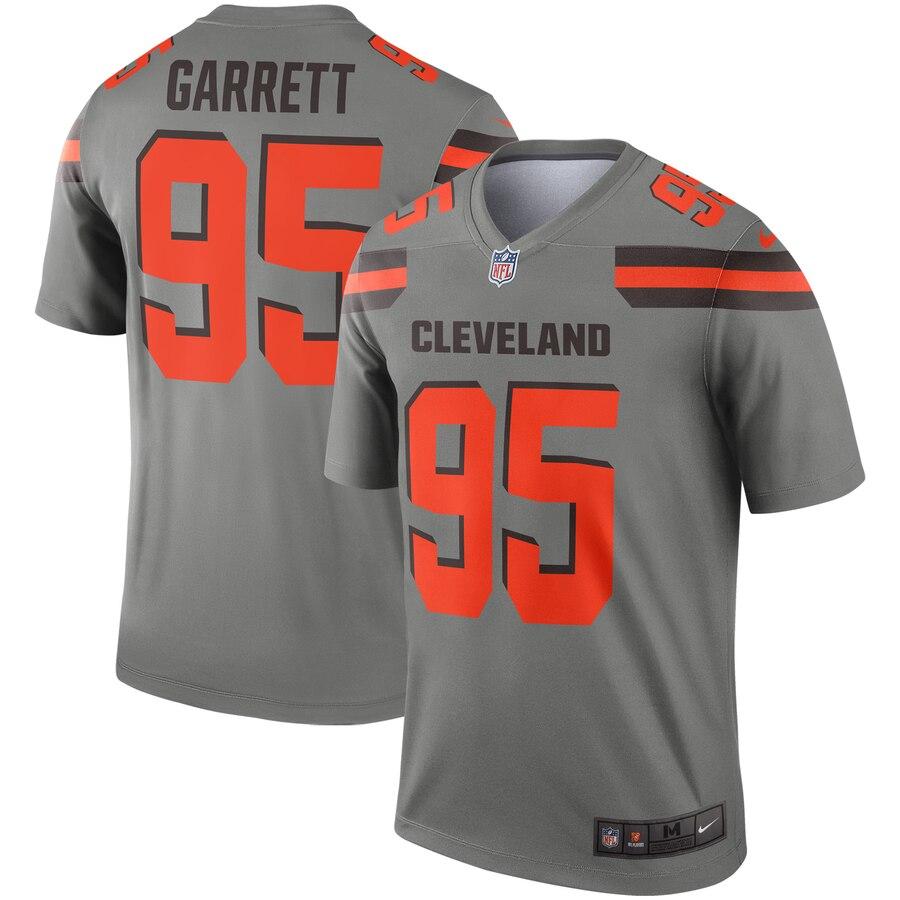 Nike Cleveland Browns 95 Myles Garrett Gray Inverted Legend Jersey