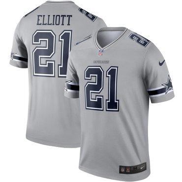 Nike Dallas Cowboys 21 Ezekiel Elliott Gray Inverted Legend Jersey