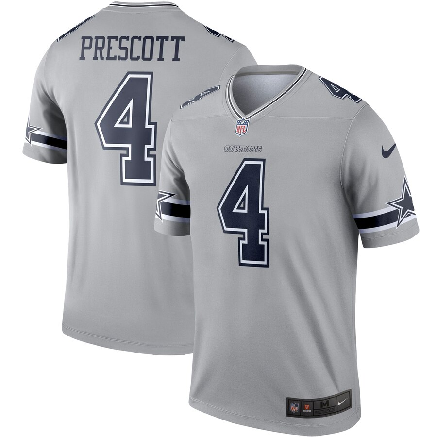 Nike Dallas Cowboys 4 Dak Prescott Gray Inverted Legend Jersey