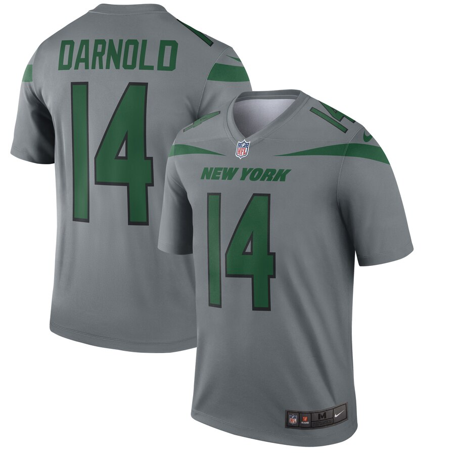 Nike New York Jets 14 Sam Darnold Gray Inverted Legend Jersey