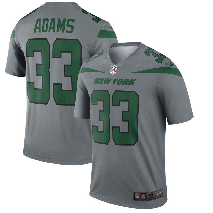 Nike New York Jets 33 Jamal Adams Gray Inverted Legend Jersey