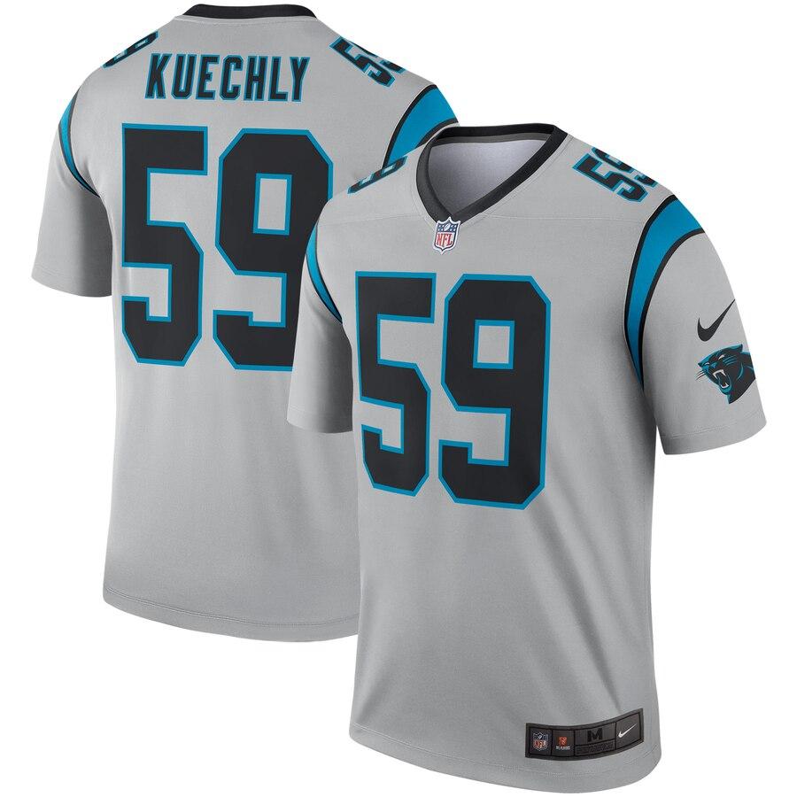Nike Carolina Panthers 59 Luke Kuechly Silver Inverted Legend Jersey