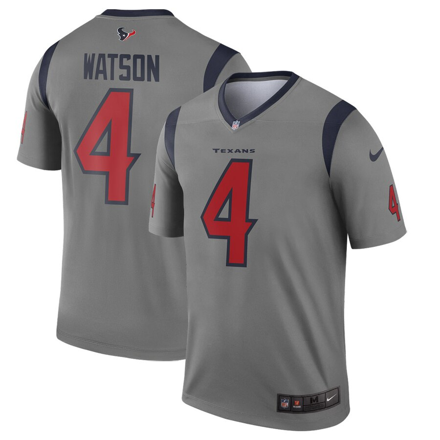 Nike Houston Texans 4 Deshaun Watson Gray Inverted Legend Jersey