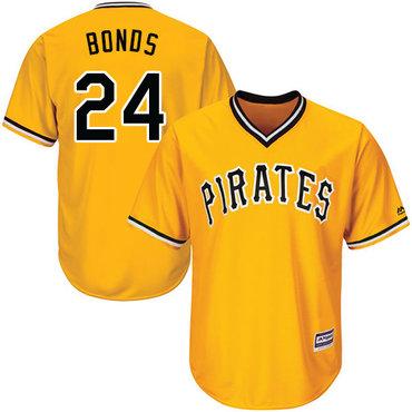 Size 4XL Pirates #24 Barry Bonds Gold Cool Base Stitched Baseball Jersey
