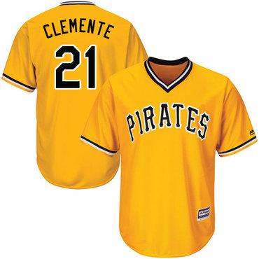 Size 4XL Pirates #21 Roberto Clemente Gold Cool Base Stitched Baseball Jersey