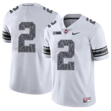 Ohio State Buckeyes 2 J.K. Dobbins White Shadow College Football Jersey