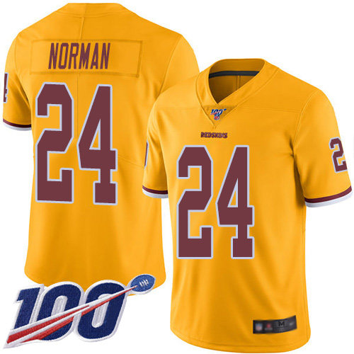 Nike Redskins #24 Josh Norman Gold Men's Stitched NFL Limited Rush 100th Season Jersey