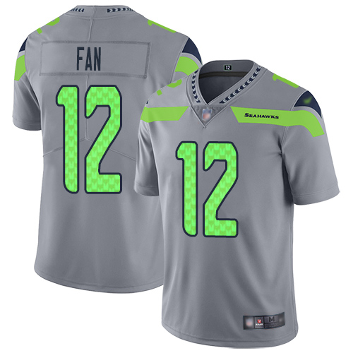 Nike Seahawks #12 Fan Gray Men's Stitched NFL Limited Inverted Legend Jersey