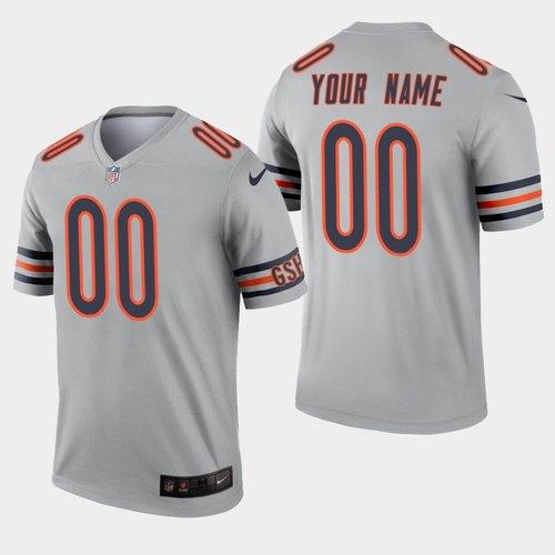 Men's Nike Chicago Bears Custom Inverted Legend Silver NFL Jersey