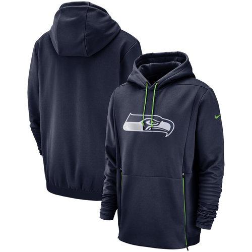 Seattle Seahawks Nike Sideline Performance Player Pullover Hoodie College Navy