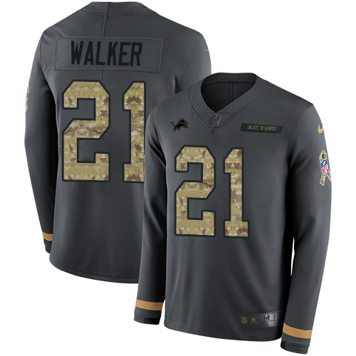 Nike Lions #21 Tracy Walker Anthracite Salute to Service Men's Stitched NFL Limited Therma Long Sleeve Jersey
