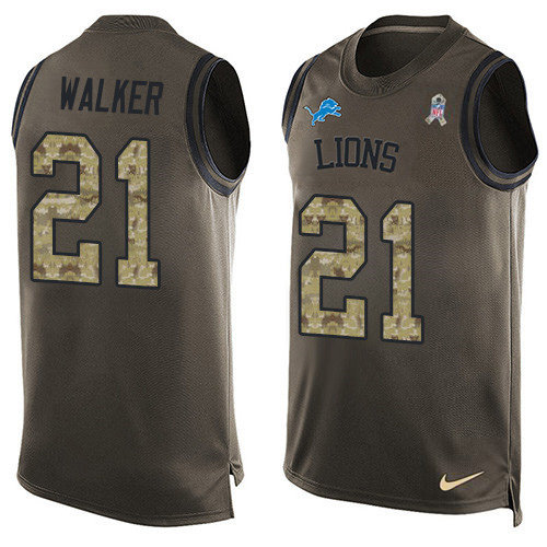 Nike Lions #21 Tracy Walker Green Men's Stitched NFL Limited Salute To Service Tank Top Jersey