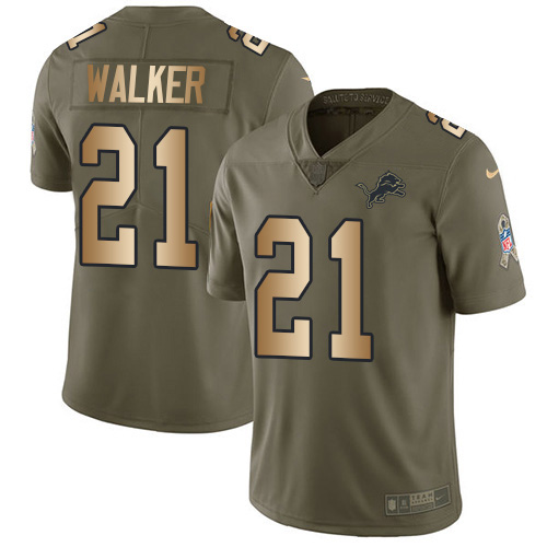 Nike Lions #21 Tracy Walker Olive Gold Men's Stitched NFL Limited 2017 Salute To Service Jersey