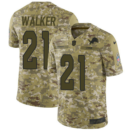 Nike Lions #21 Tracy Walker Camo Men's Stitched NFL Limited 2018 Salute To Service Jersey