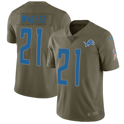 Nike Lions #21 Tracy Walker Olive Men's Stitched NFL Limited 2017 Salute to Service Jersey