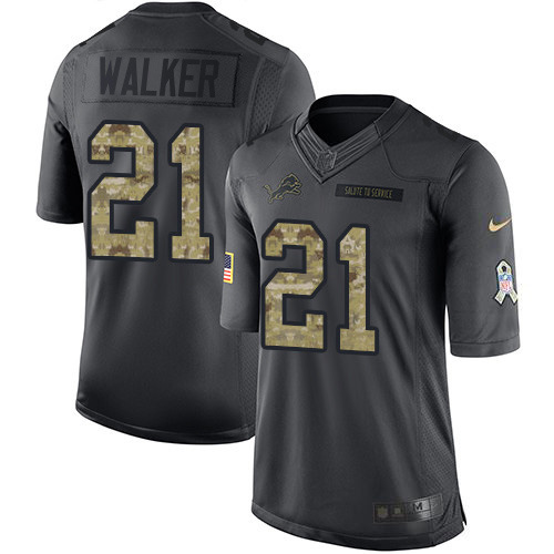 Nike Lions #21 Tracy Walker Black Men's Stitched NFL Limited 2016 Salute To Service Jersey