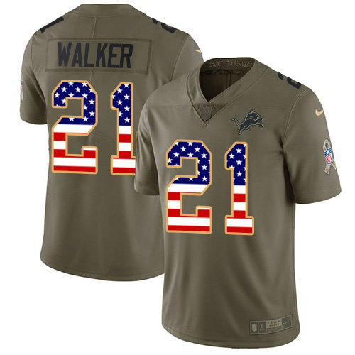 Nike Lions #21 Tracy Walker Olive USA Flag Men's Stitched NFL Limited 2017 Salute To Service Jersey