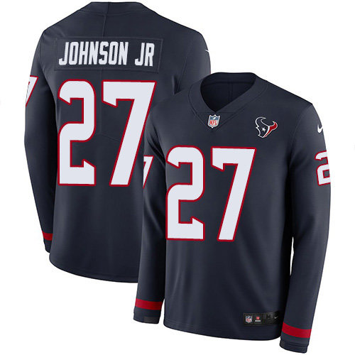 Nike Texans #27 Duke Johnson Jr Navy Blue Team Color Men's Stitched NFL Limited Therma Long Sleeve Jersey