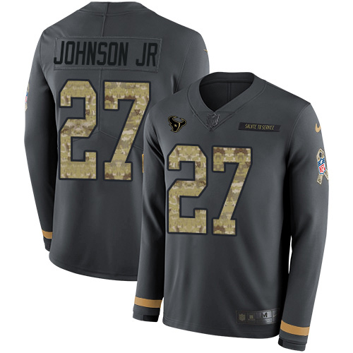 Nike Texans #27 Duke Johnson Jr Anthracite Salute to Service Men's Stitched NFL Limited Therma Long Sleeve Jersey
