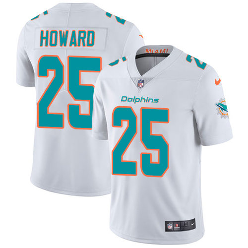 Youth Dolphins #25 Xavien Howard White Stitched Football Vapor Untouchable Limited Jersey