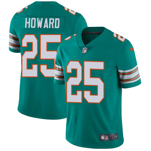 Youth Dolphins #25 Xavien Howard Aqua Green Alternate Stitched Football Vapor Untouchable Limited Jersey