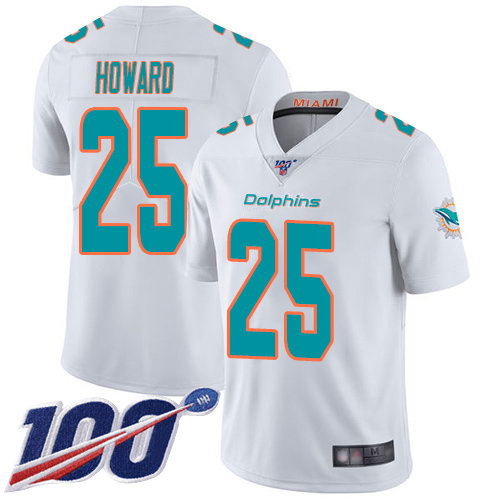 Youth Dolphins #25 Xavien Howard White Stitched Football 100th Season Vapor Limited Jersey